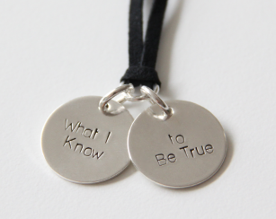 Wear and share the energy of a What I Know to Be True Sterling Silver Pendant on Black Leather $70