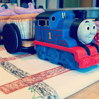 Thomas driving the cupcake train!