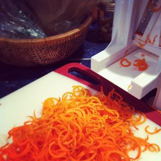 Spiralizing carrots!