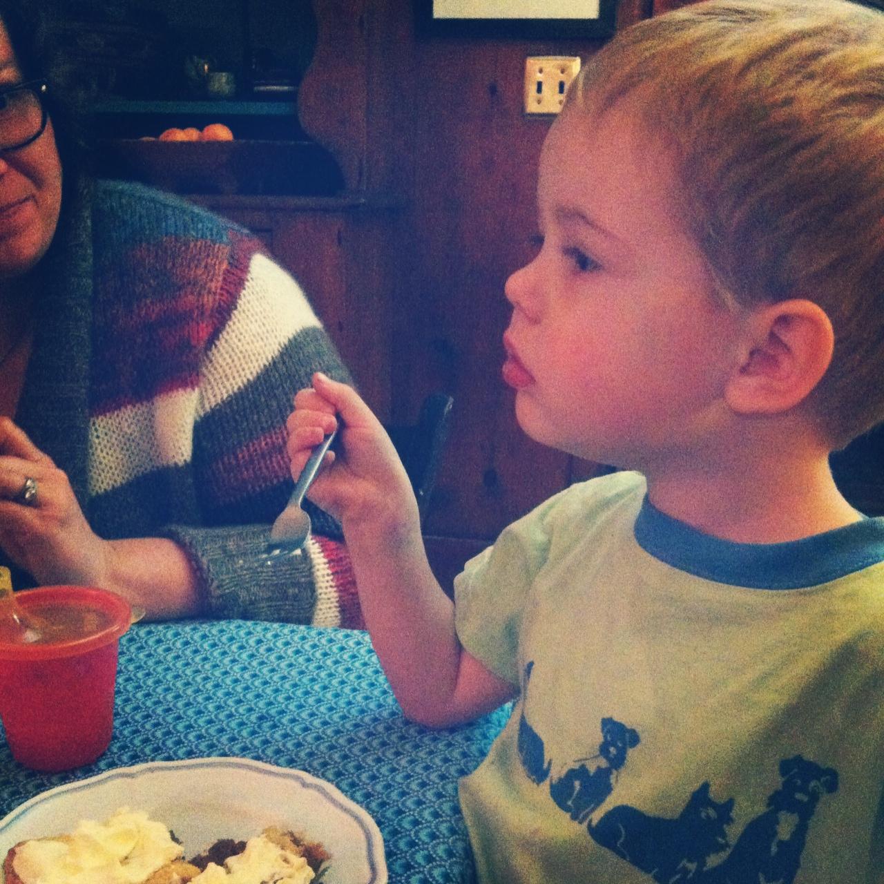 Little man enjoyed the pie!