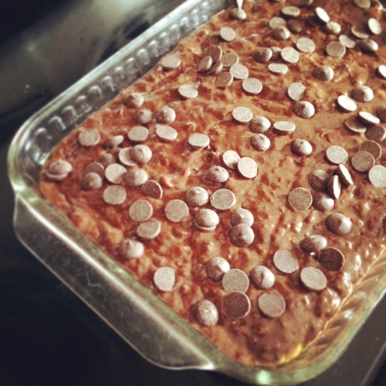 Rich chocolate and banana snackcake heads into the oven.