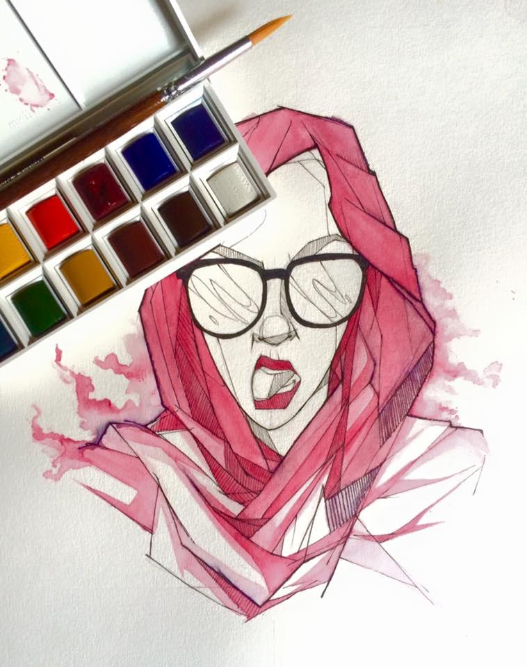 Watercolours and Artiline
