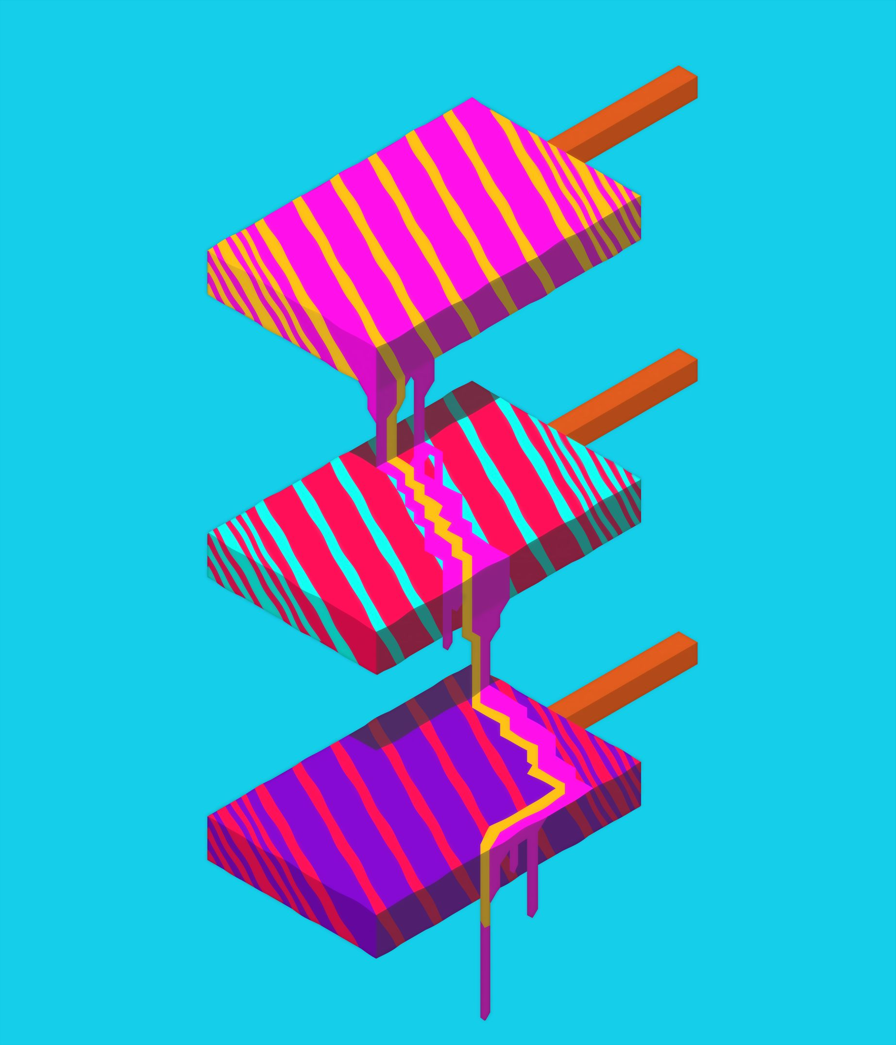 Neoretro Popsicle Marmoset Hexels 2.5 and Adobe Photoshop CC. (2017)