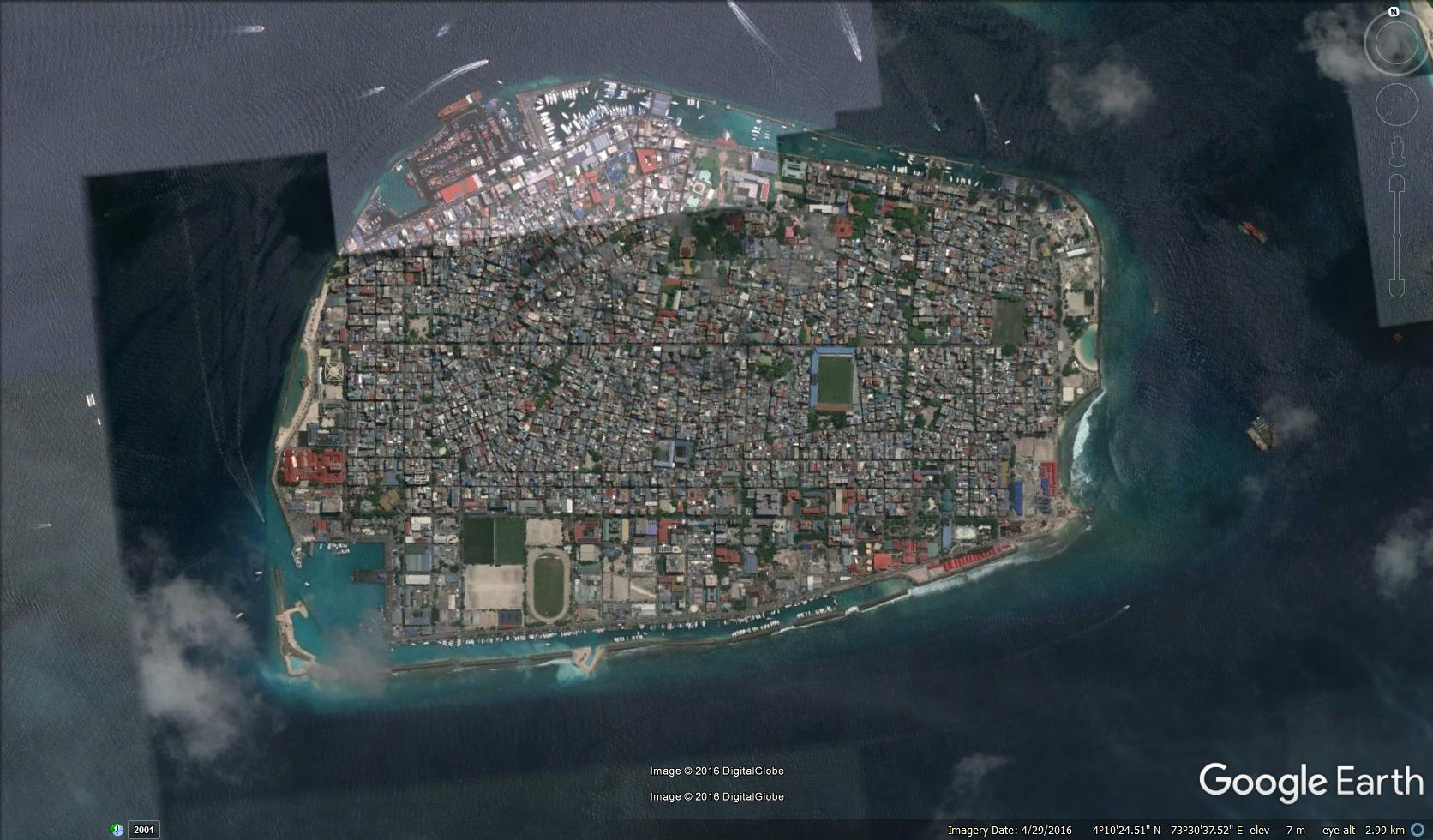 Male' City from above.  Image via Google Earth. © 2016 Digital Globe