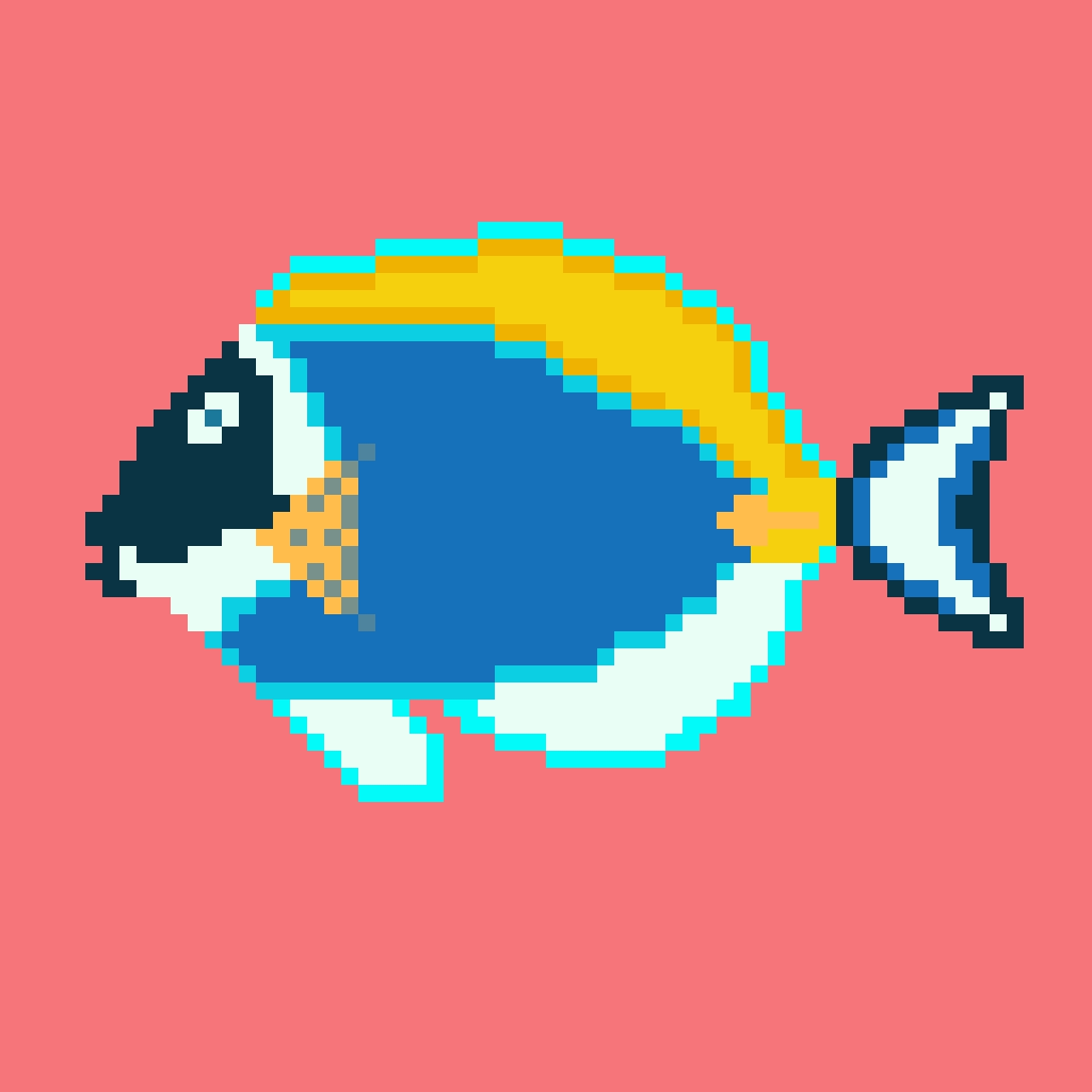 (Acanthurus leucosternon) | Making pixel art assets for #projectbokkuraa | 64x64 pixel grid | Made in pixaki.