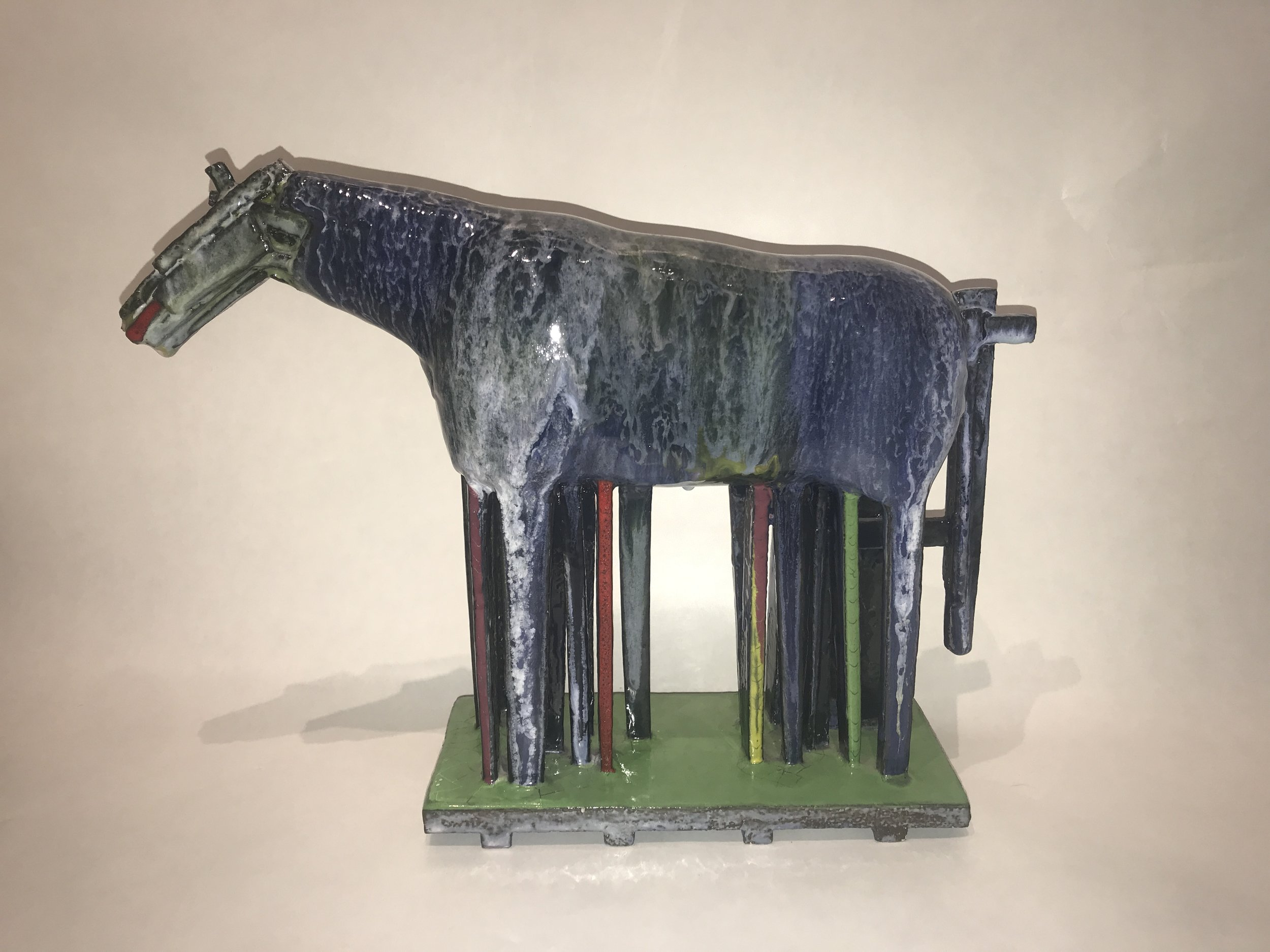 Blue Horse, painted glazed ceramic, 14 x 18 x 4 inches