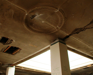 Before - one of the four in-situ-run lime-mortar ceiling centres