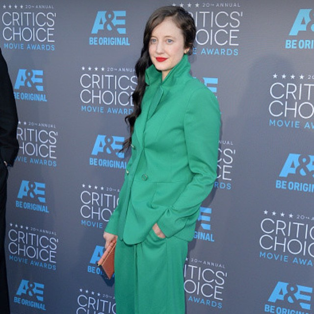 Congrats to my new friend #AndreaRiseborough 's win tonight at #thecriticschoiceawards for #bestactingensemble in #Birdman . So good working with you today, inspired by your unique style and impeccable taste in #vinyl hair: @dal11211 makeup: @ladydaymakeup