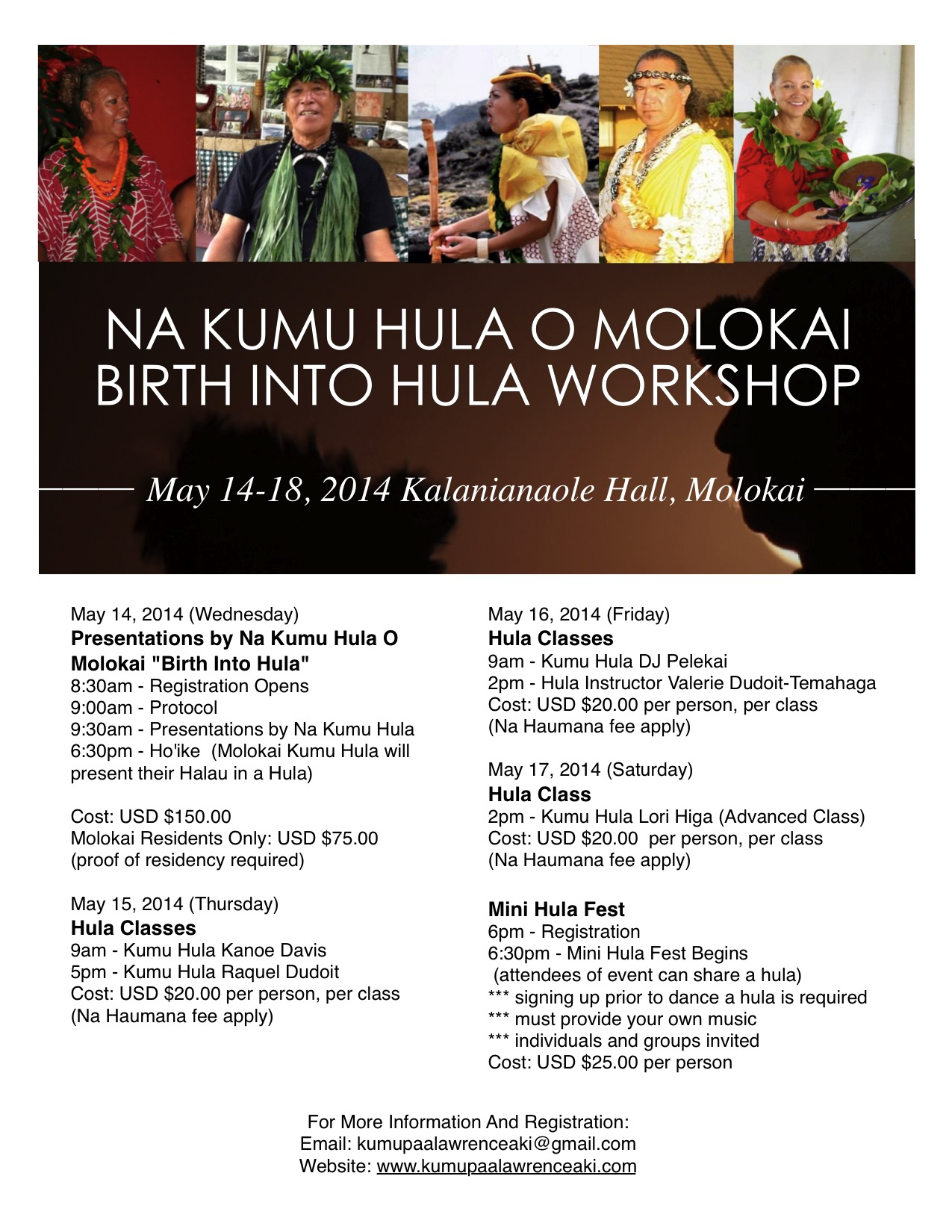 Na Kumu Hula O Molokai Birth Into Hula Workshop Program April 17