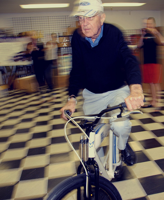 Carroll Shelby testing his new ride.
