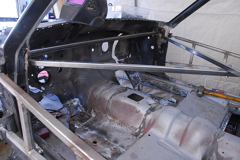Dash was removed to allow greater access to cowling and firewall repair.