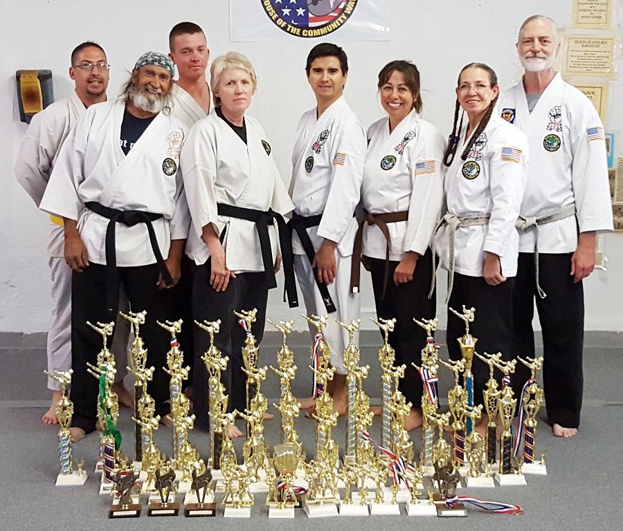 Morning Adult Karate Class:  Jamie Atencio, Ernest Espinosa, John Miller, Joshua Baca, Antoinette Austin, Sensei Cindy, Sensei Richard