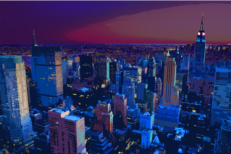 "Dusk NYC 48"" X 72"""