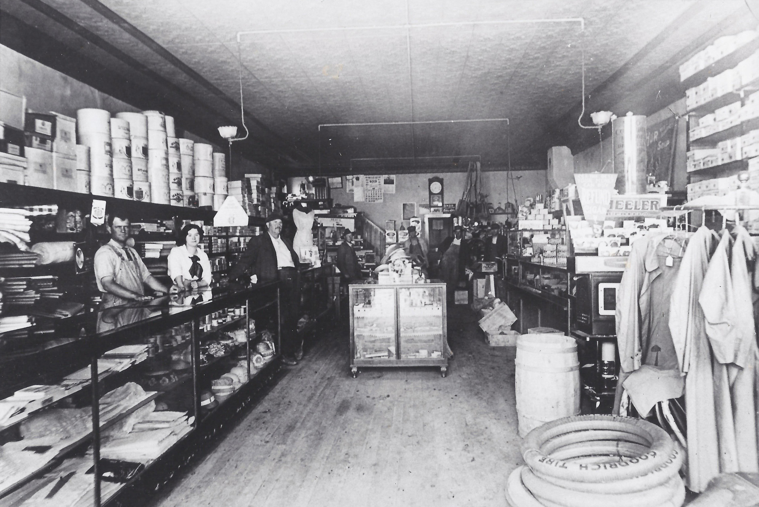 The Steve Cave General Store, 1913  -  Photo courtesy of Ellis Cave  Shown; Claude Cave, Mary Stapleton, and Steve E. Cave