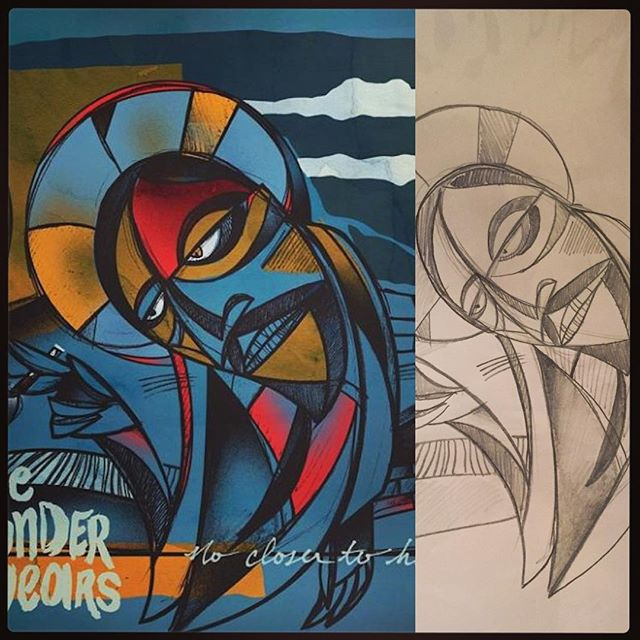 When I created the #artwork for #TheWonderYears new album. I had to truly let go of my typical #style and draw from the heart. You can see here, the #original #sketch for the #design. I had drawn it on the kitchen table at my moms house lol. Now it's a highly acclaimed record. Pretty neat to see how things can become something from nothing. Glad I was a part of this record. Enjoy. #process #artist #Twy #NoCloserToHeaven #drawings #abstract #picasso #style #designer #design #illustrations #illustration #illustrator #mikechardcore #hotlife