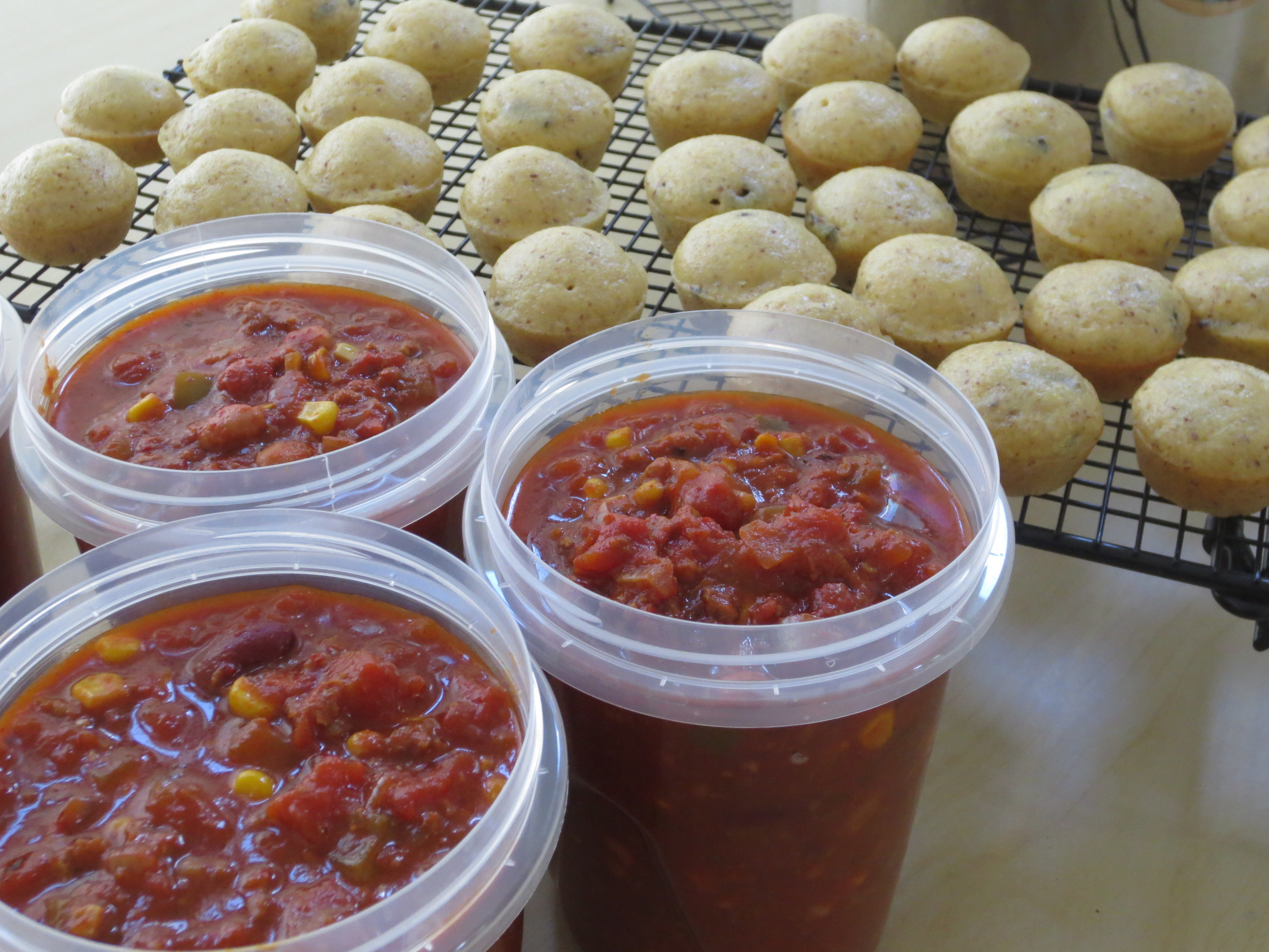 Vegan Chili with Sundried Tomato Cornbread Muffins made for two challenge takers