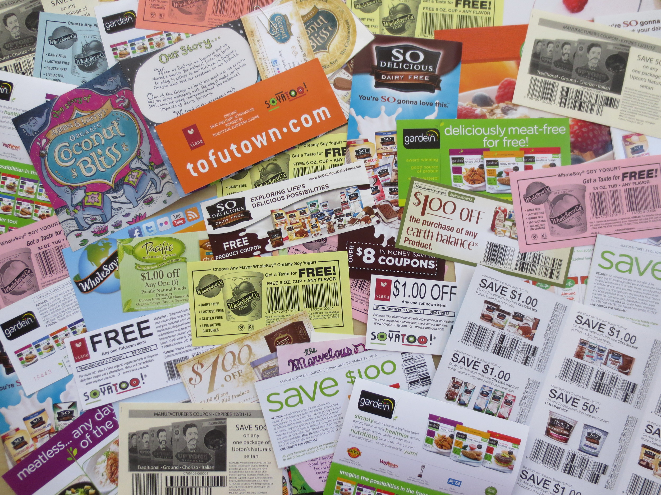 Some of the coupons graciously sent to us by some awesome vegan and vegan-friendly companies to share with challenge takers.