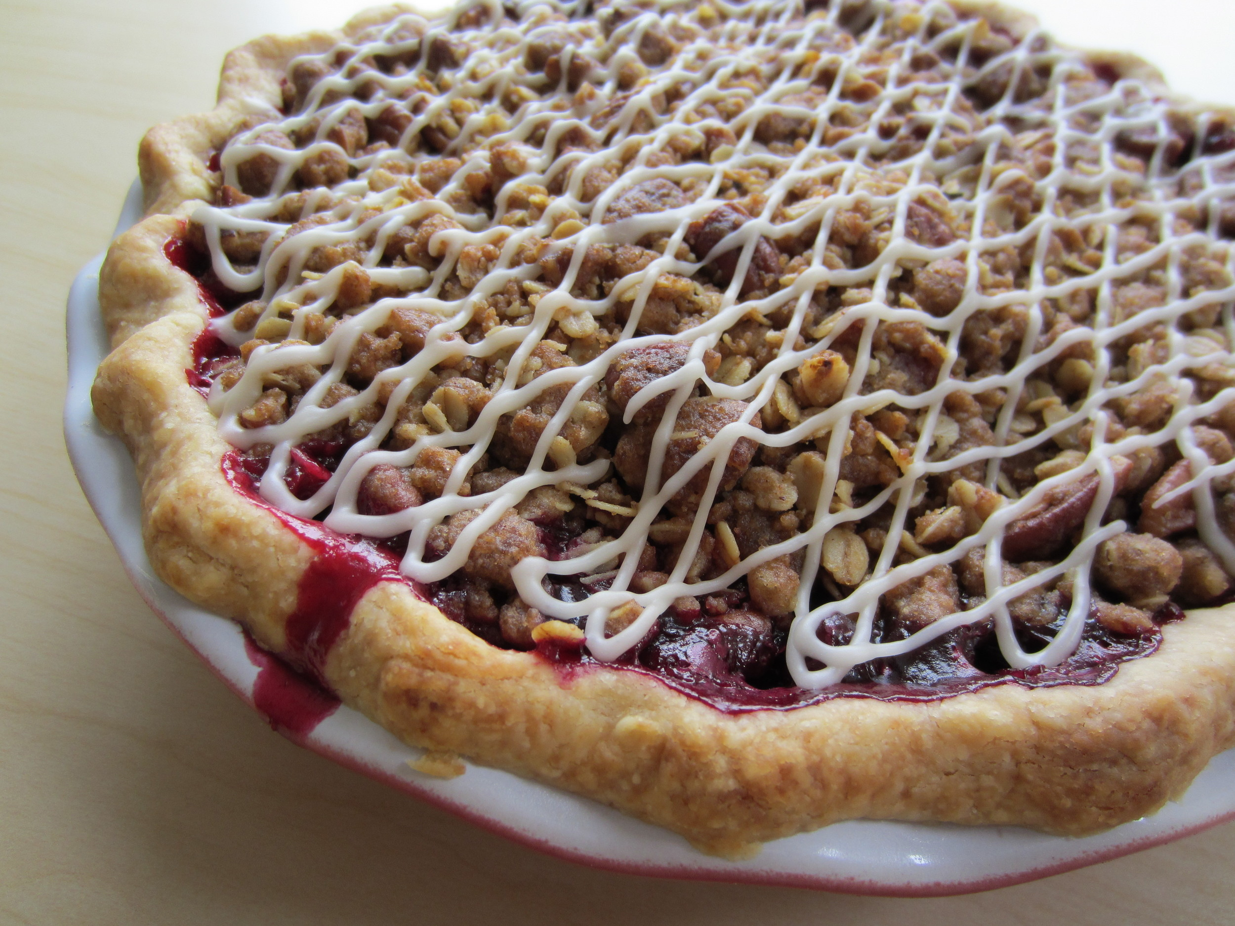 Vegan Blueberry Cranberry Pie with Pecan Streusel Topping