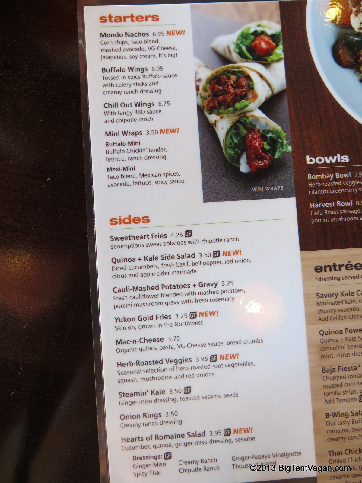 A portion of Veggie Grill's menu showing their new appetizers and sides (they also have several new entrées).
