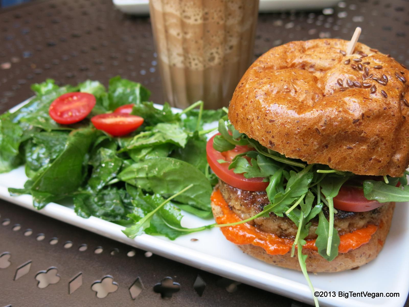 FSC Burger with arugula, Roma tomatoes, and sun-dried tomato aioli (and a mocha granita!)