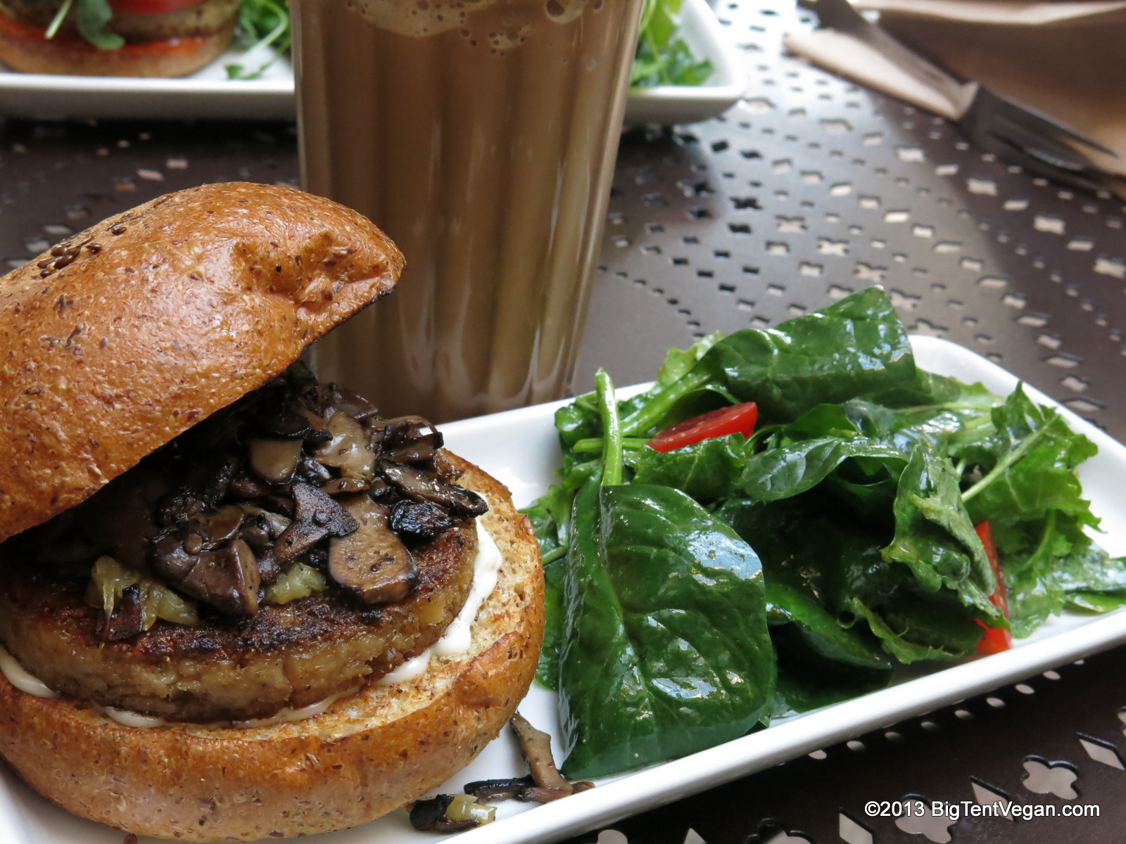 Truffle Burger with caramelized onions, sautéed mushrooms, and truffle aioli