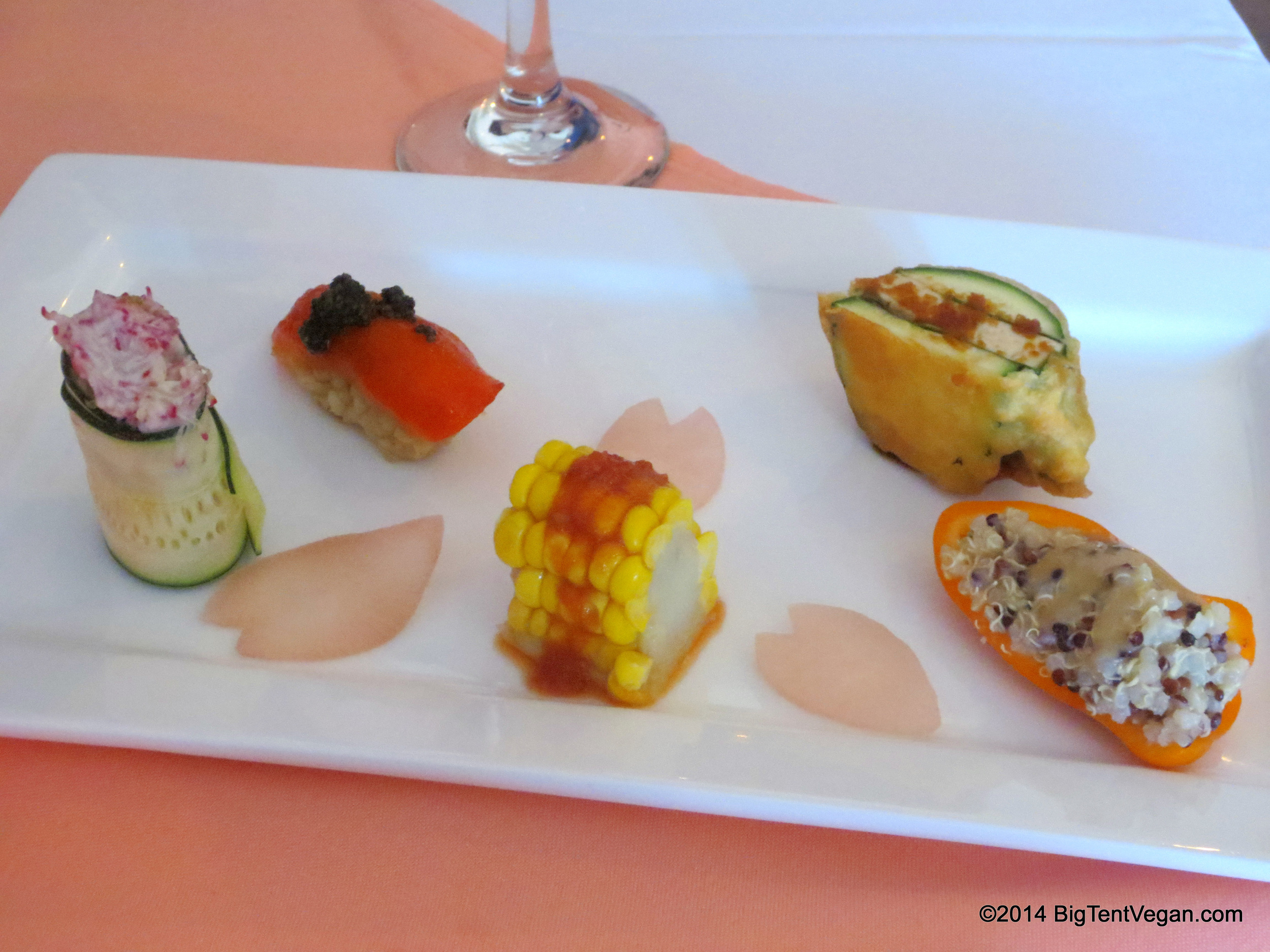 Five Colored Nigiri Sushi (Appetizer Course from the 2013 Mother's Day Prix Fixe Menu)