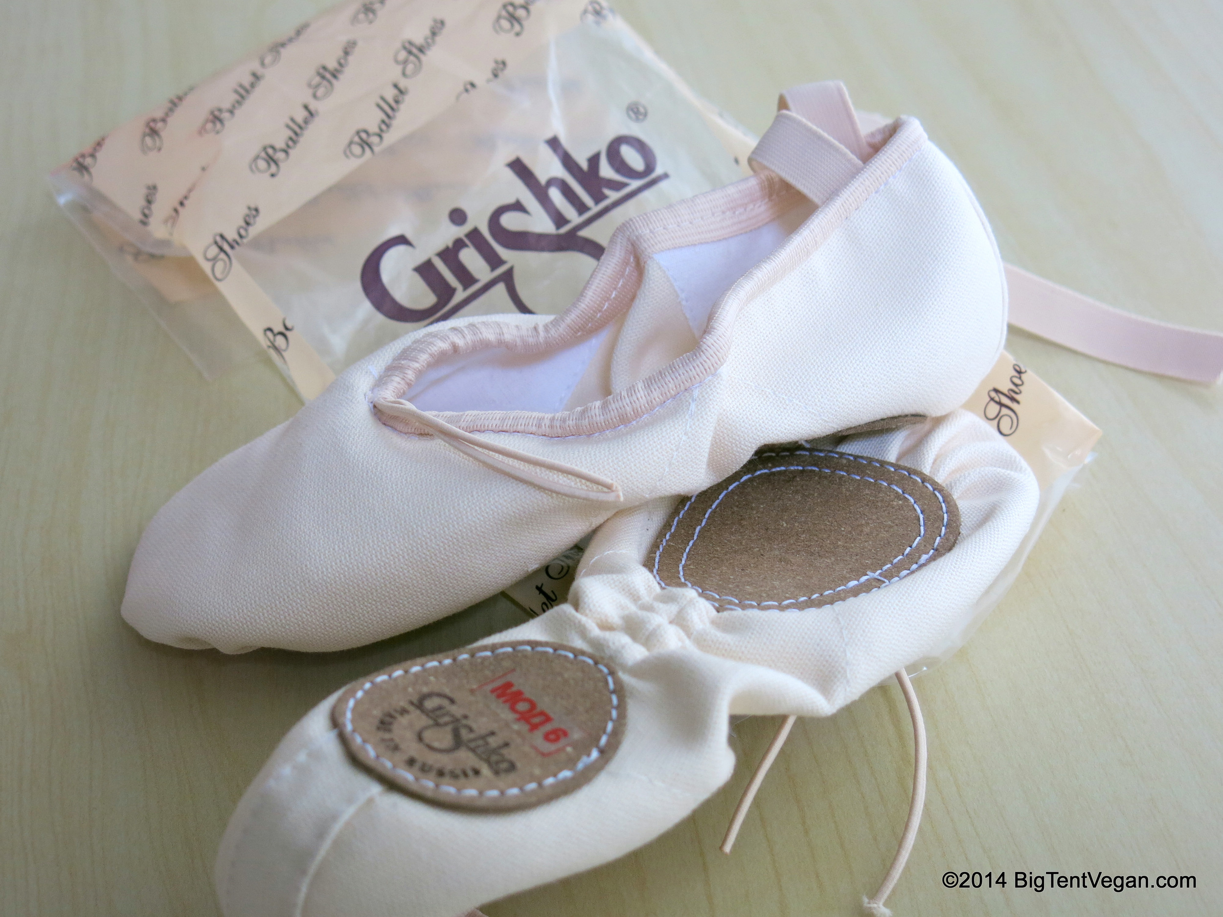 Vegan Grishko Ballet Slippers, made at the Grishko facility in Moscow, Russia, and ordered through Discount Dance Supply in Mission Viejo, CA, USA.