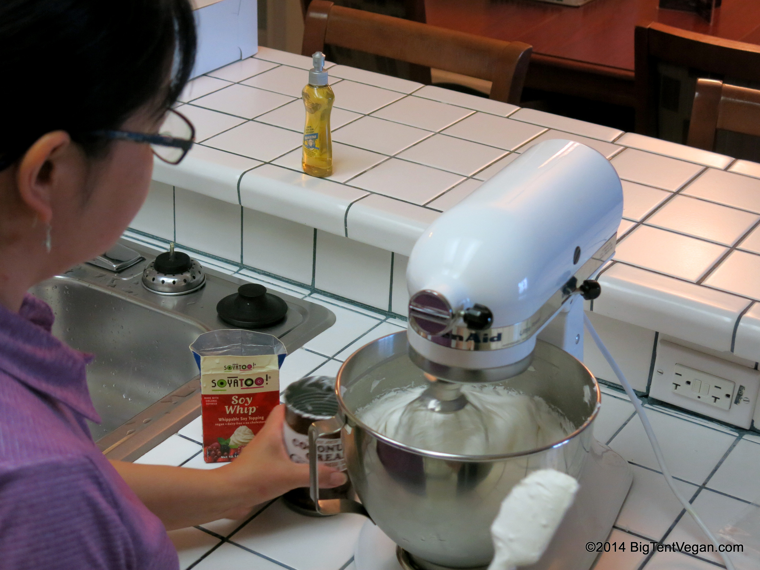 Whipping up her vegan coconut-soy vanilla whipped cream topping.