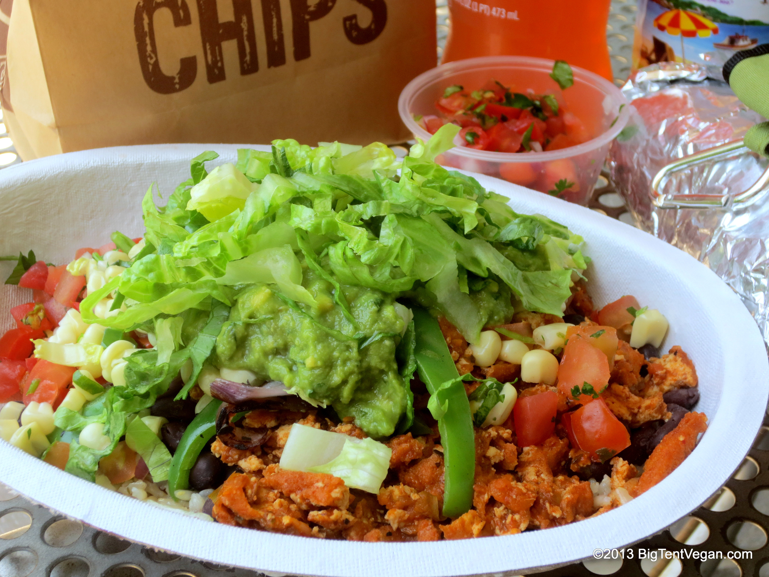 Sofritas Bowl (organic shredded tofu braised in a spicy, smoky marinade of chipotle and hatch chiles) from Chipotle (national chain restaurant)