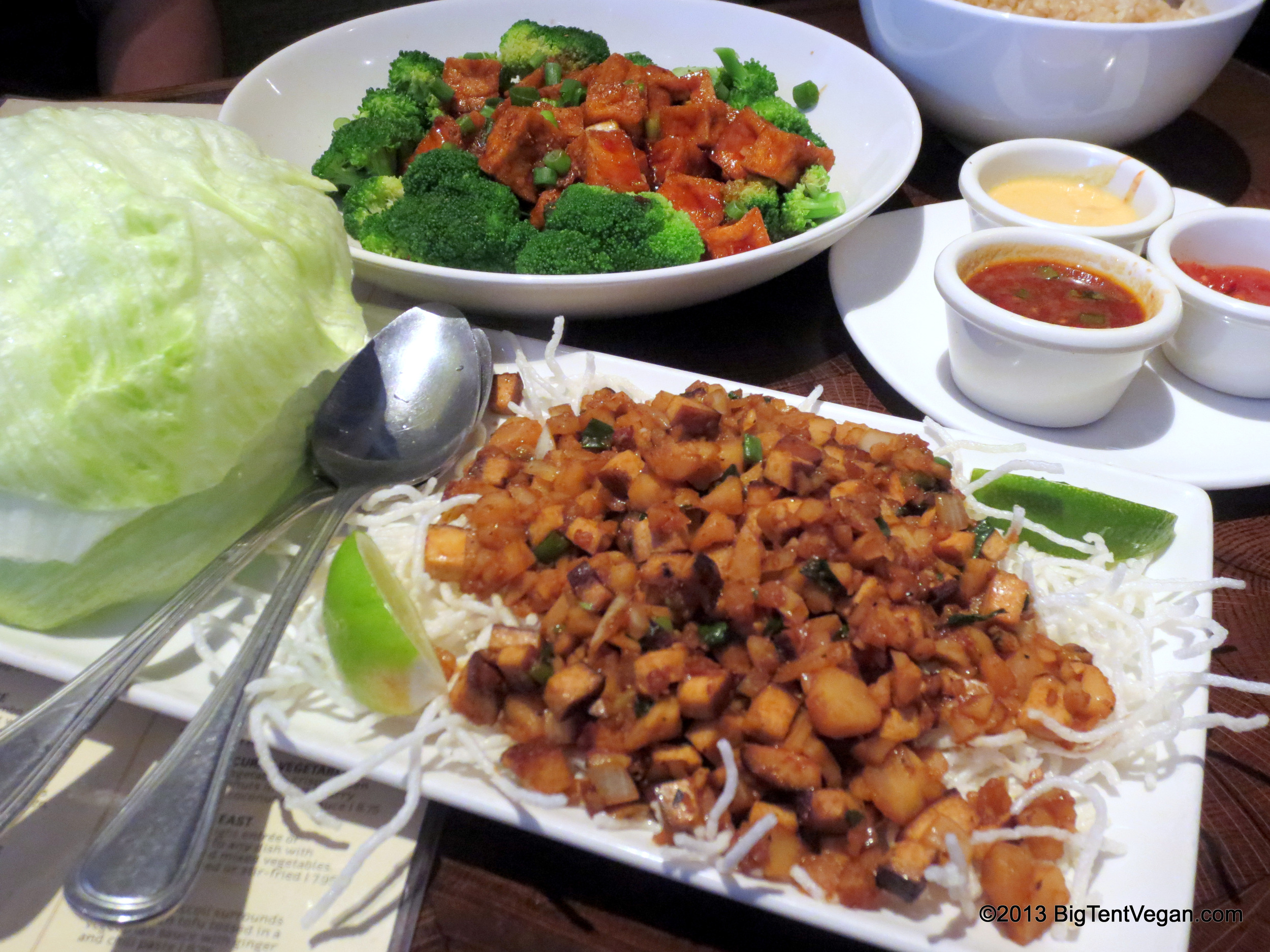 Tofu Lettuce Wraps and Ma Po Tofu with Broccoli from P.F. Chang's (national chain restaurant)