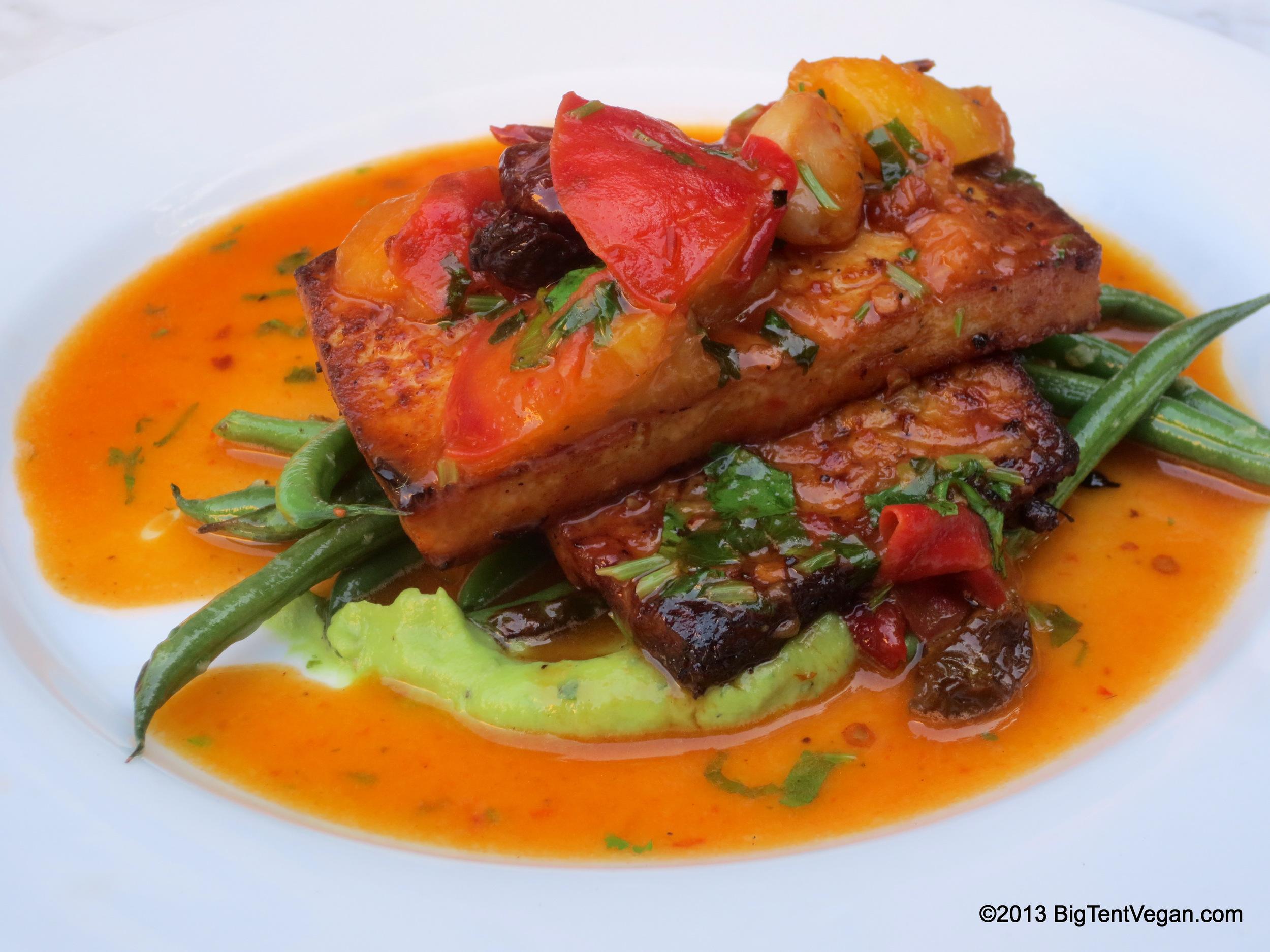 Chipotle Peach Tofu and Tempeh with Haricot Verts, Chef Makini Howell, Plum Bistro (Seattle, WA)