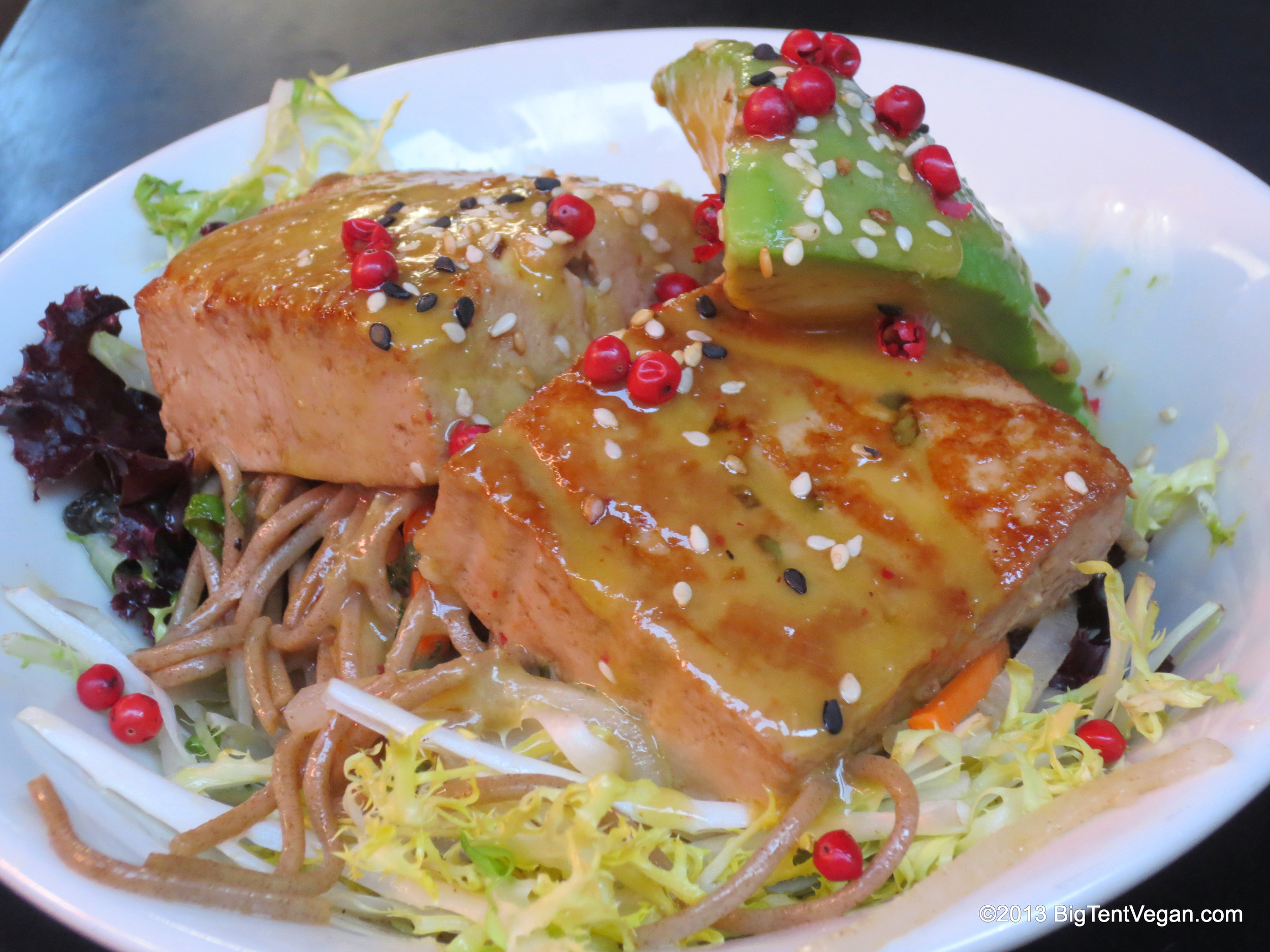 Tataki Tofu with Miso Mustard Sauce and Toasted Pink Peppercorns, Chef Kajsa Alger and Chef Susan Feniger, Street (Los Angeles, CA)