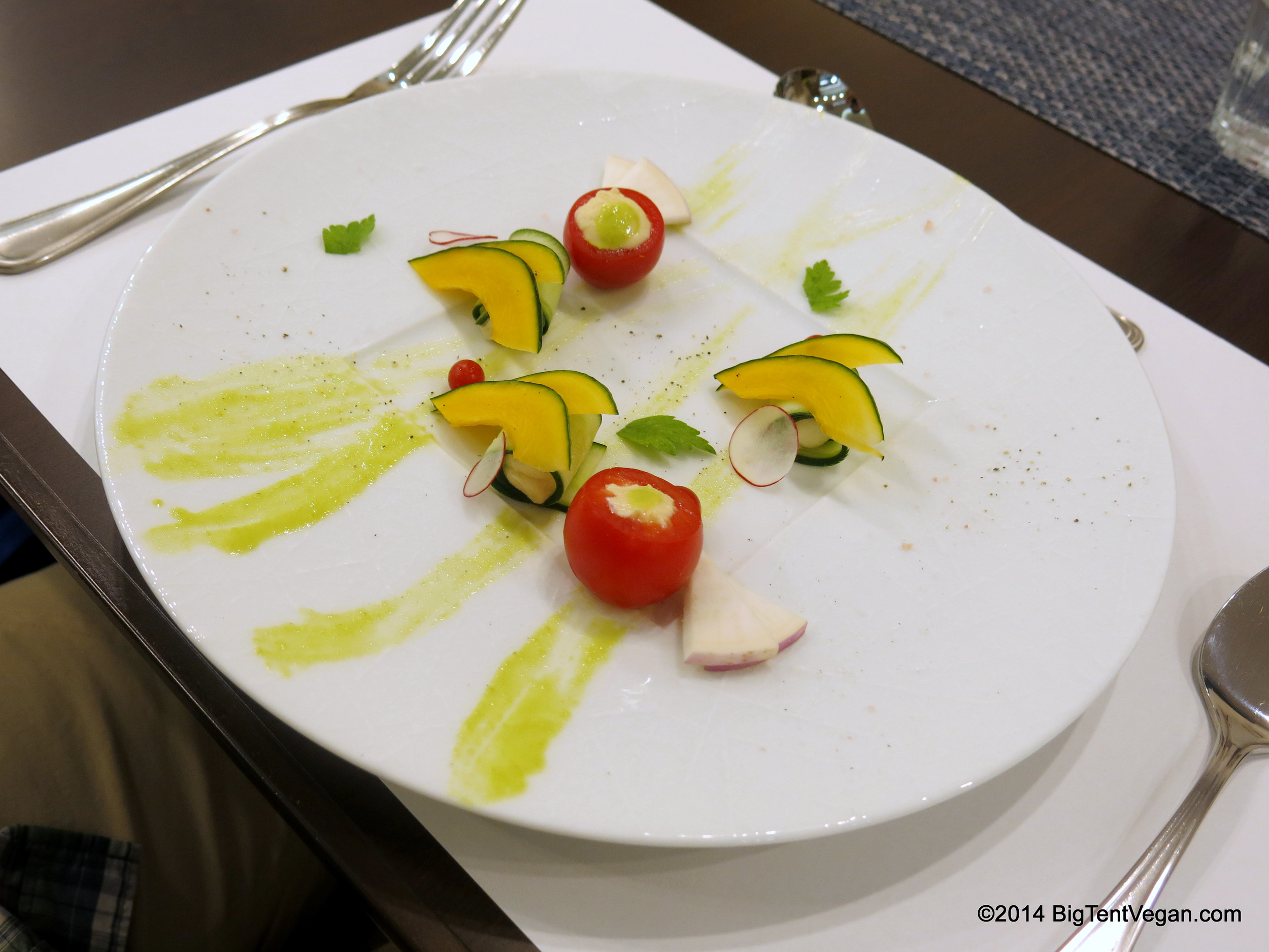 Vegan Cheese Appetizer (from set dinner menu) with Assorted Vegetables