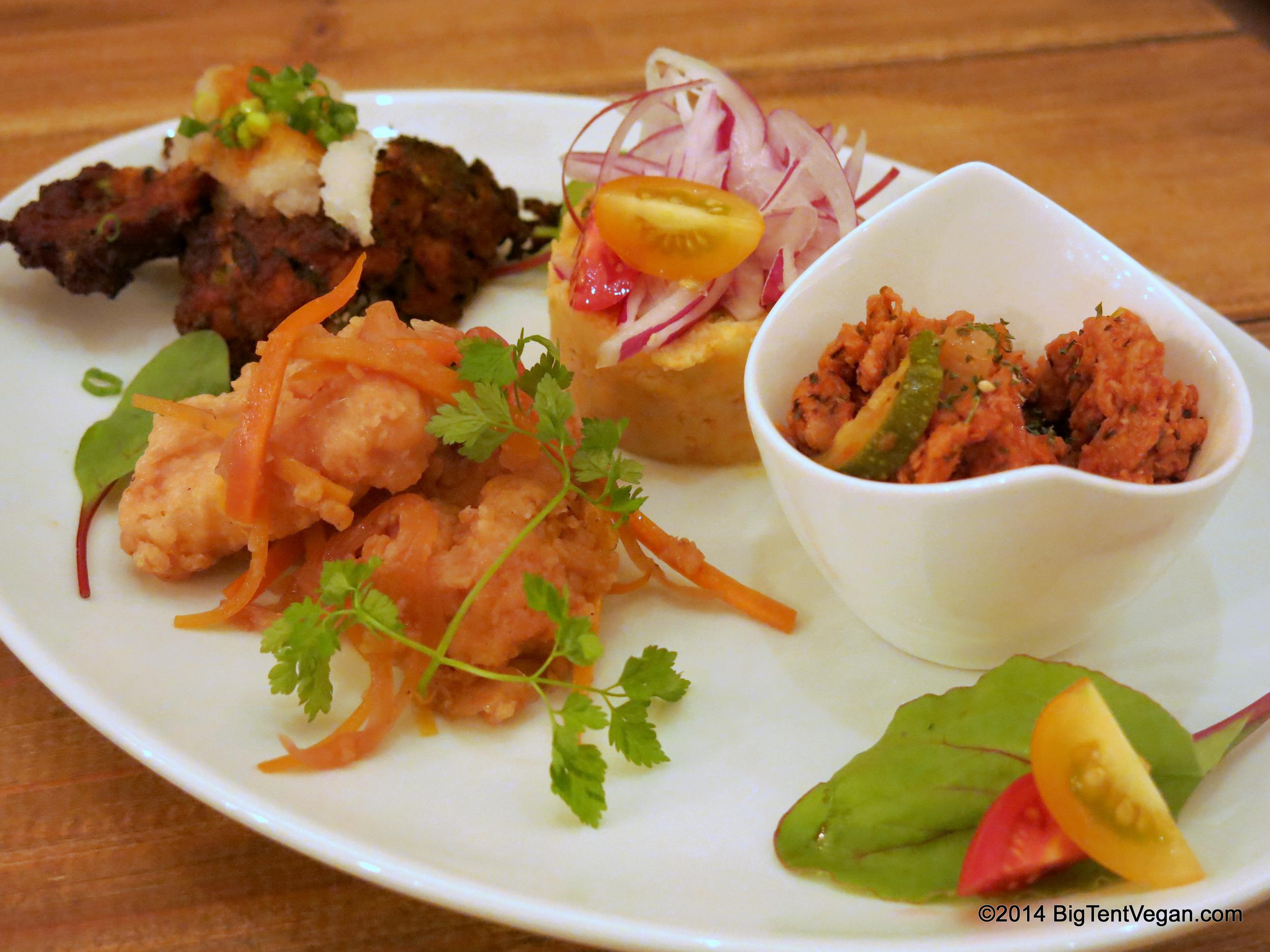 Chef's Appetizer Platter for Set Dinner Course at 100% vegan restaurant Paprika Shokudo (Osaka, Japan)