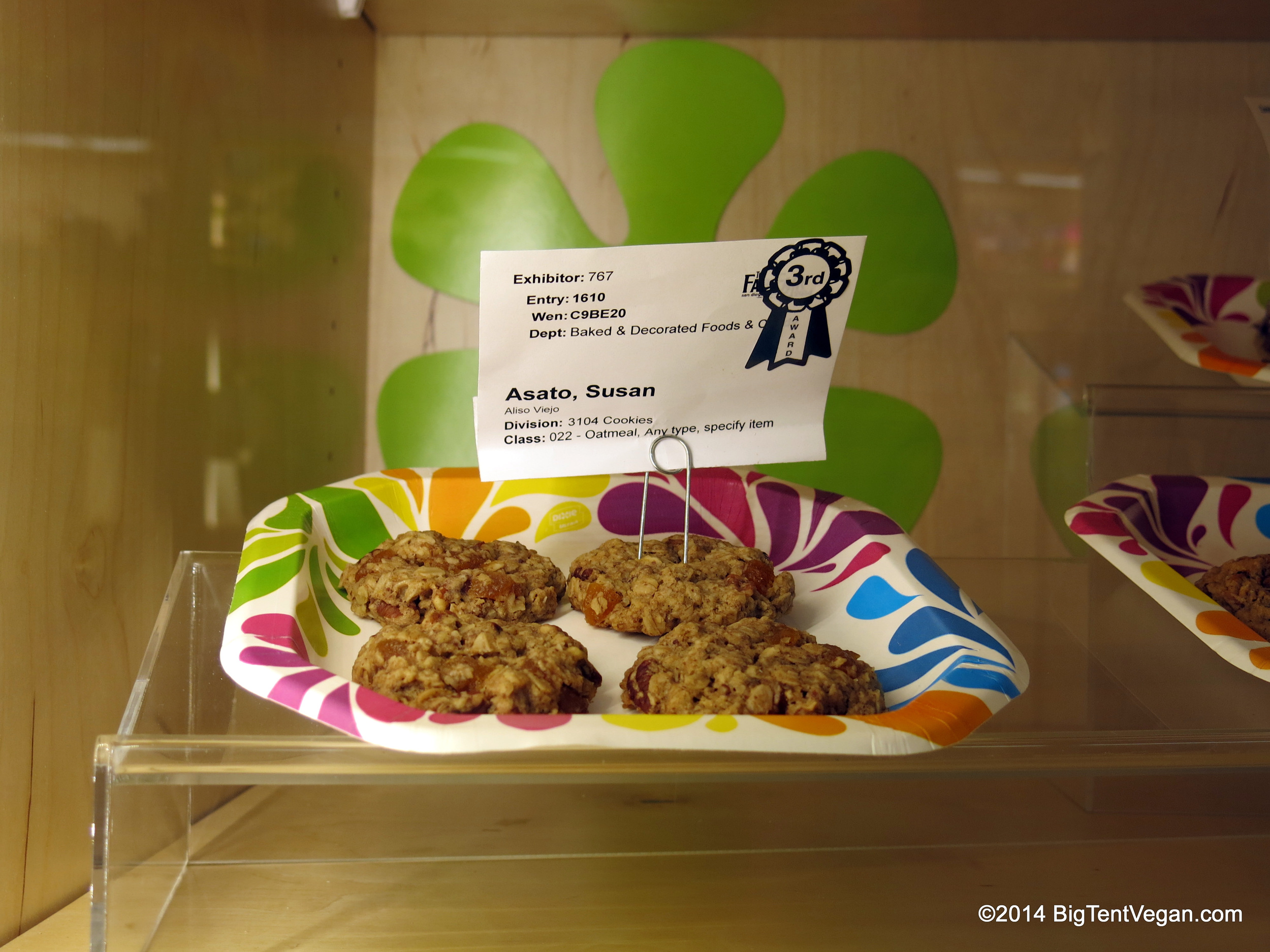 Vegan Apricot Pecan Oatmeal cookies. 3rd Place, 2014 San Diego County Fair. This is actually one of my favorite things that Susan makes (among a lot of great things!)