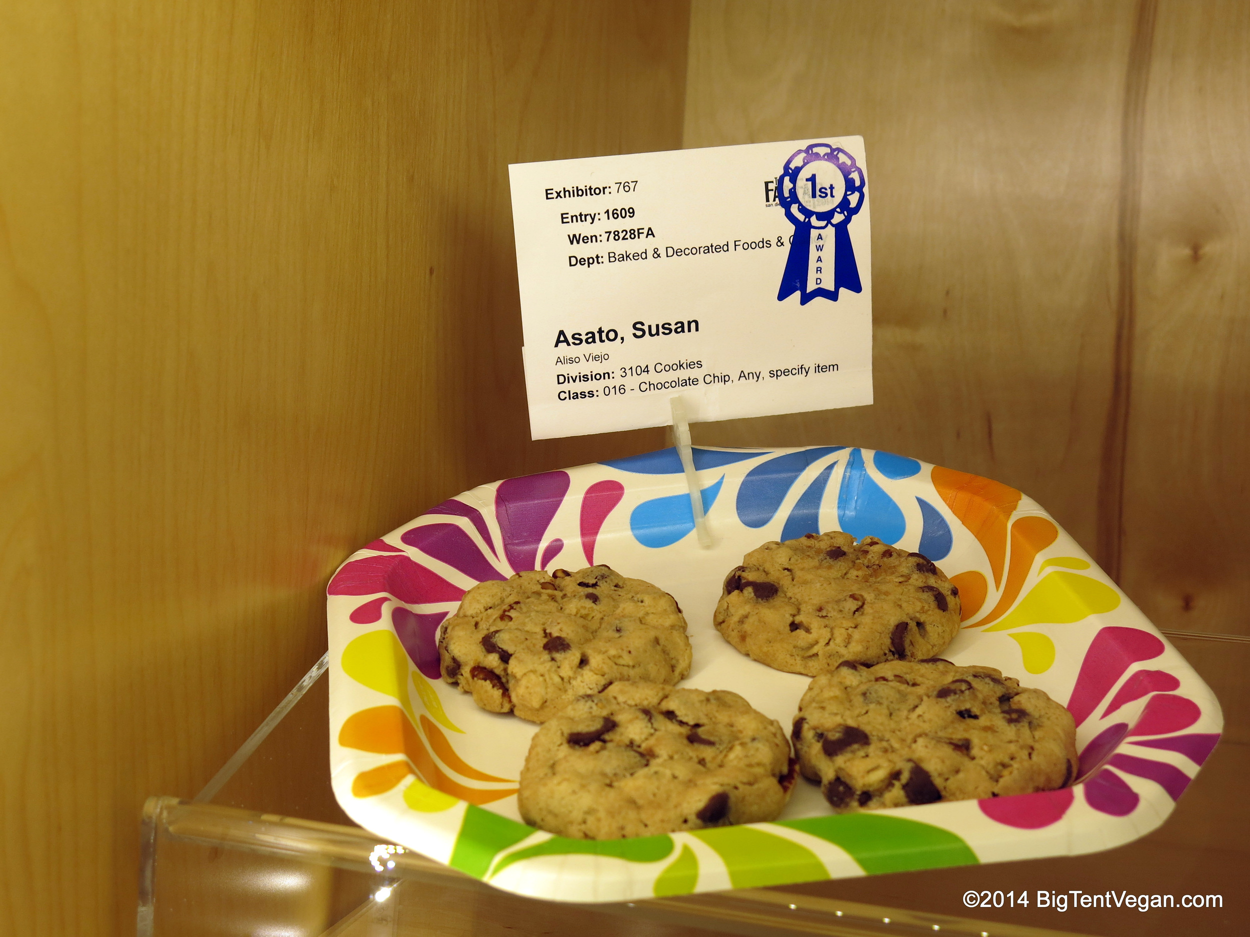 Vegan Chocolate Chip Cookies with Pecans. 1st Place, 2014 San Diego County Fair