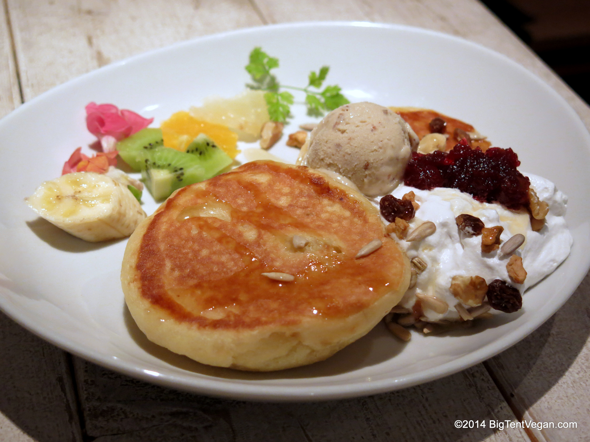 Heavenly Pancake Dessert at Ain Soph Journey (100% vegan restaurant) in Tokyo, Japan
