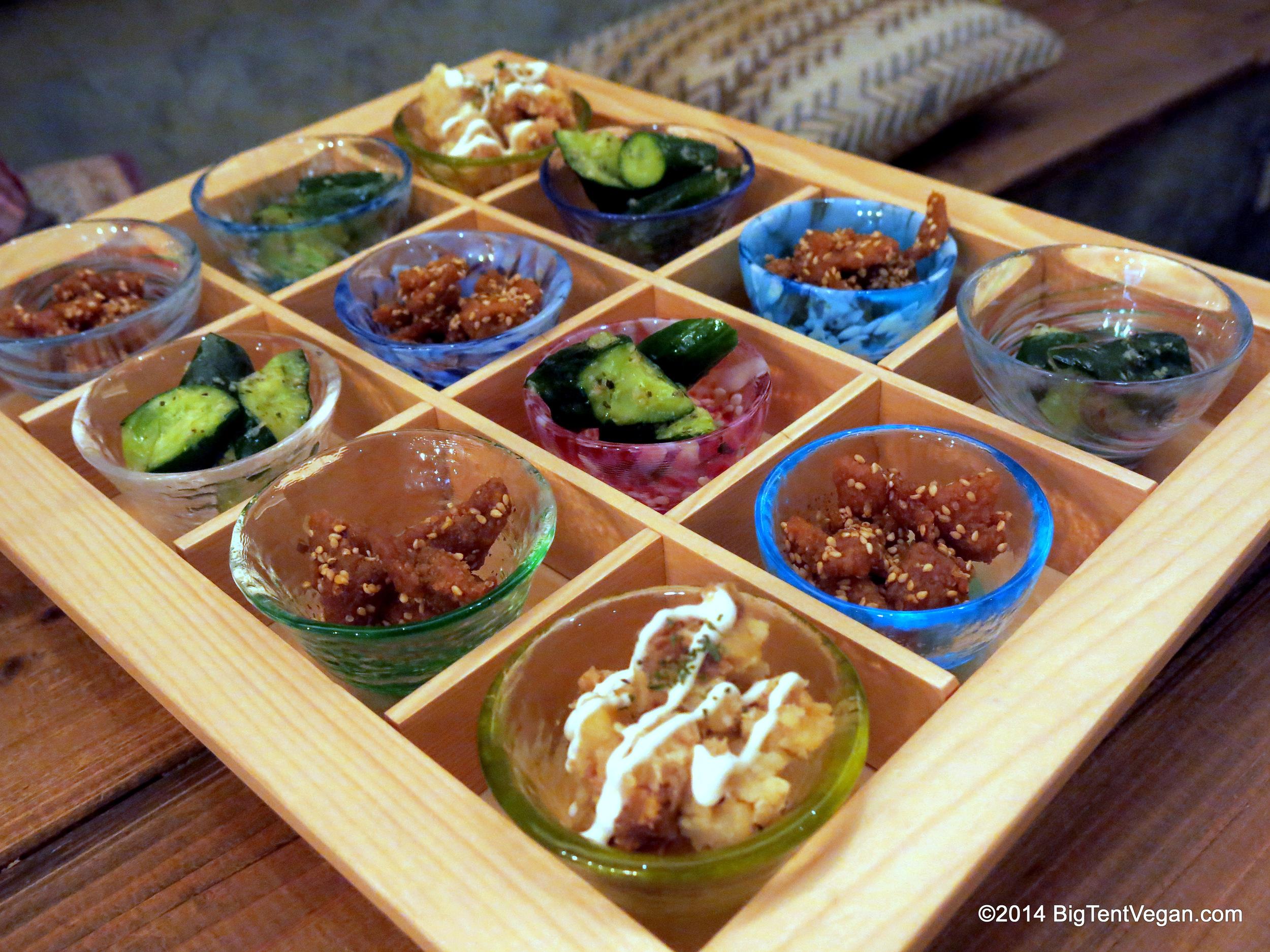 Amuse bouche tray at 100% vegan restaurant Paprika Shokudo in Osaka, Japan