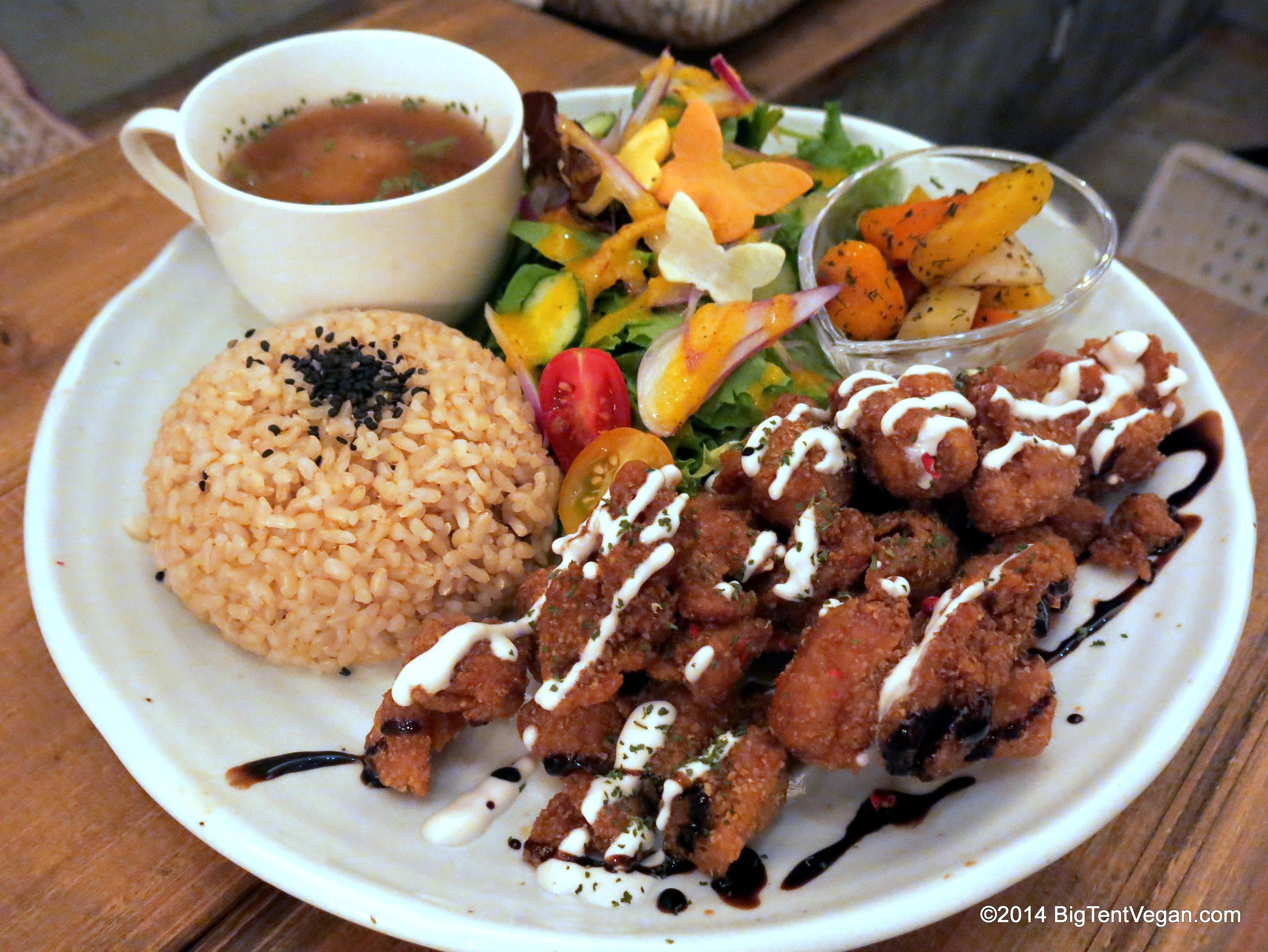 Soy Meat Karaage Dinner from 100% vegan restaurant Paprika Shokudo in Osaka, Japan