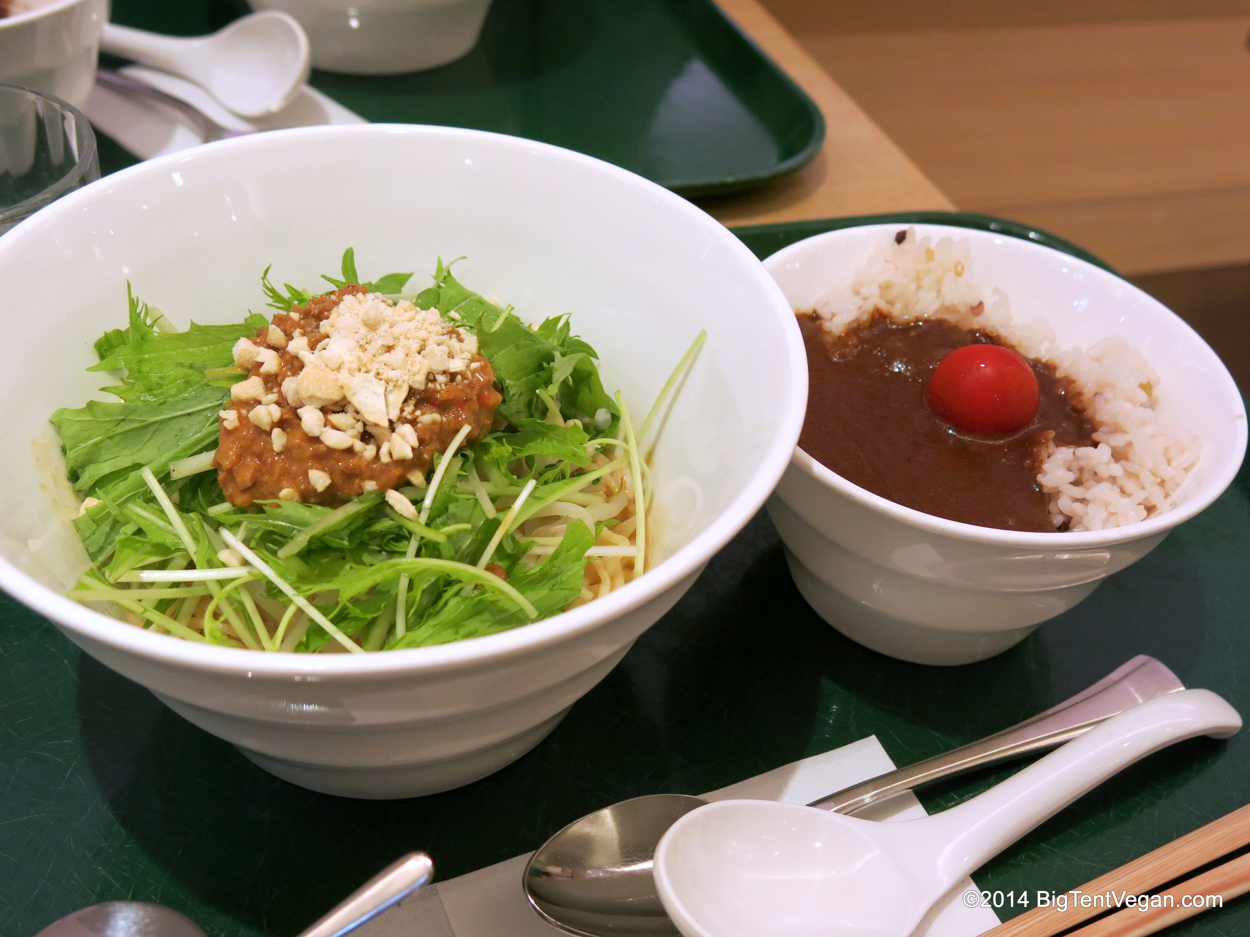 T's Hiyashi Tantan Chilled Noodle Bowl with a side of Smile Curry at T's Tantan inside Tokyo Station