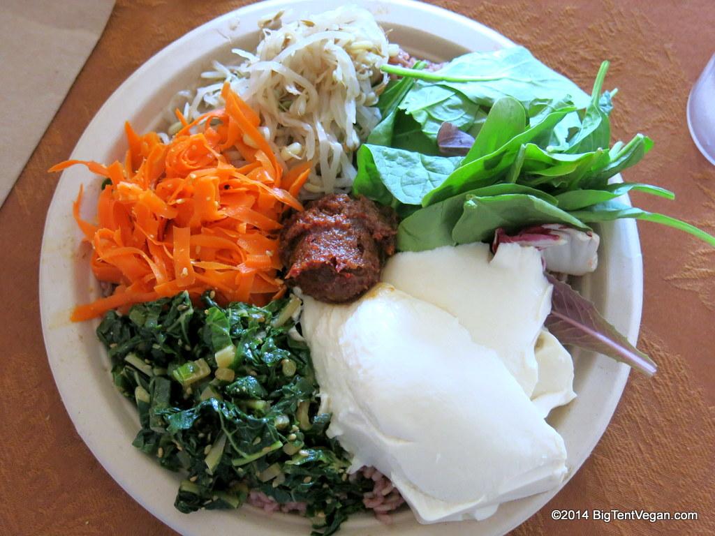 Peace Cafe  (Honolulu, HI, USA) Shown here is the Heart and Seoul Bibimbap with fresh tofu. They even have vegan spam musubi for kamaainas.