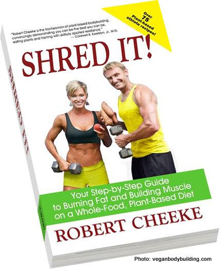 A copy of professional vegan bodybuilder Robert Cheeke's new book  Shred It!