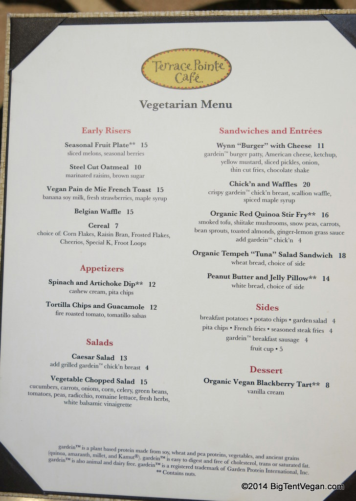 terrace pointe cafe at the wynn (veg/vegan menu as of dec 2014)