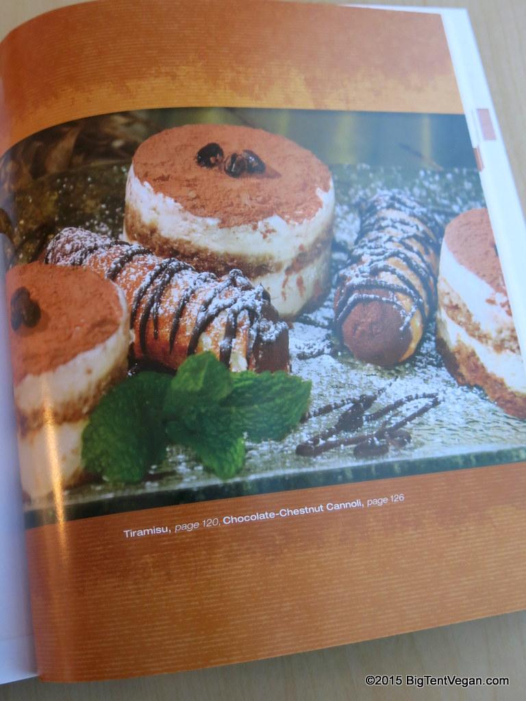 Page 119 from  Artisan Vegan Cheese cookbook  showing vegan Tiramisu and Vegan Chocolate Chestnut Cannoli