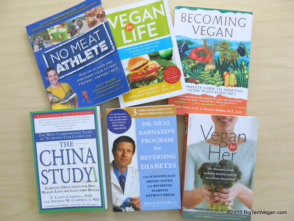JUst a few of the many books written or co-written by vegan doctors and vegan registered dietitians.