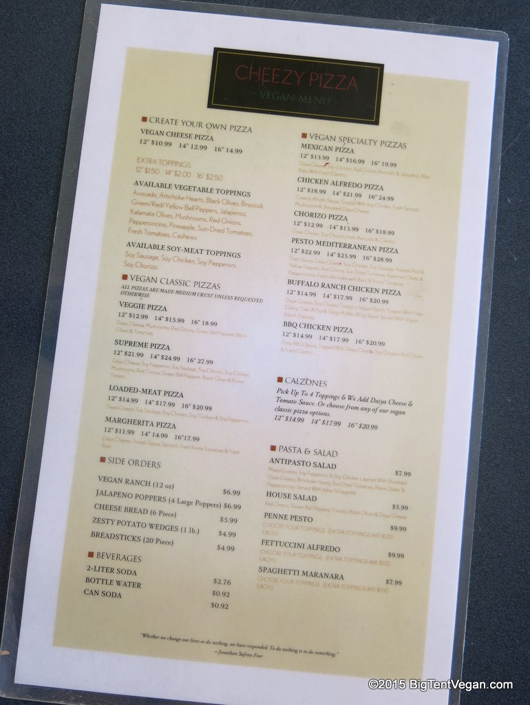 Cheezy Pizza Colton's current menu...soon to be greatly expanded!