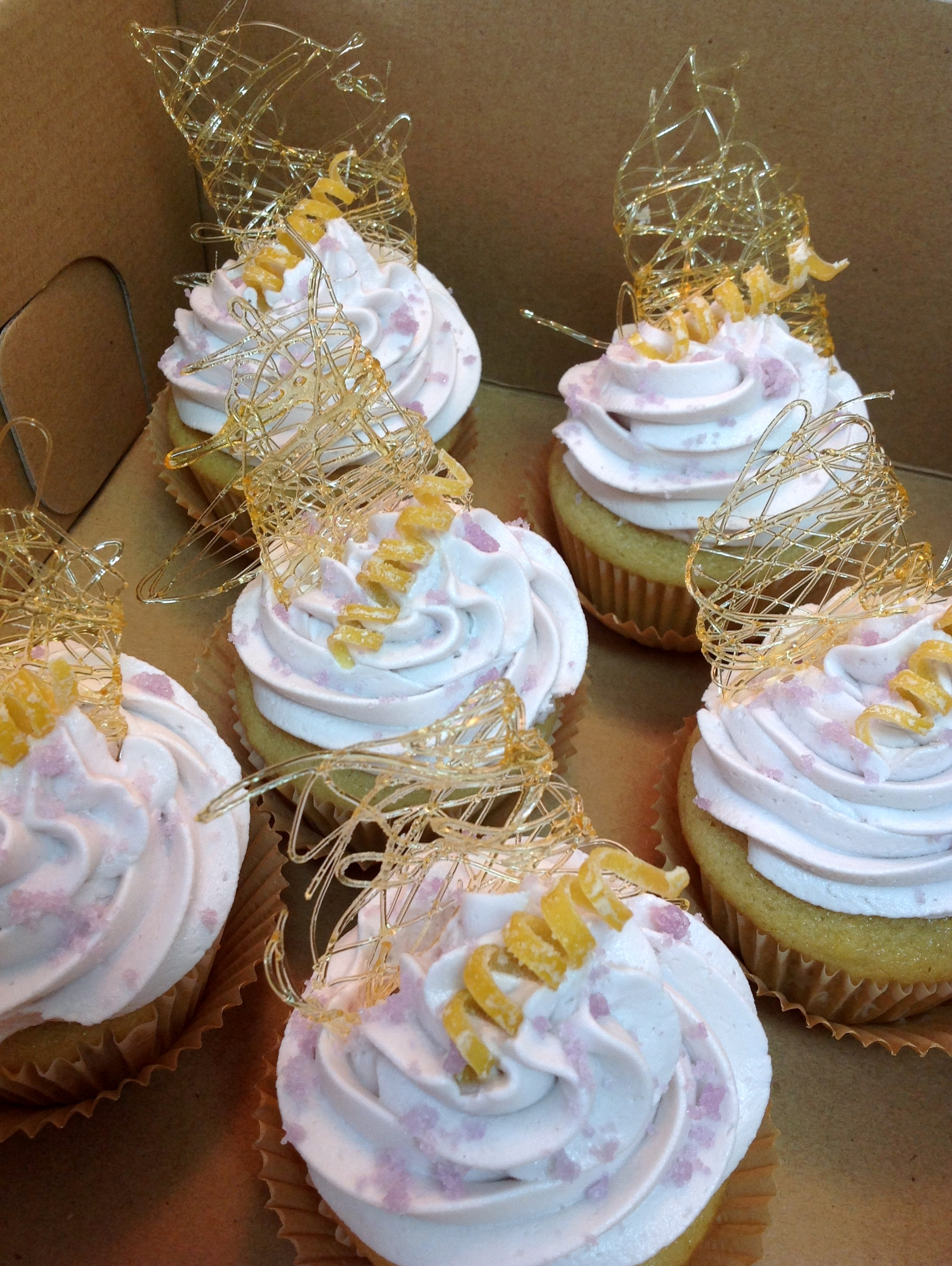 Lemon Lavender Cupcake with Lavender Sugar Crystals by Jara Fonseca, 1st Place & BEST OF SHOW, 2015 SoCal VegFest Vegan Cupcake Competition (Costa Mesa, CA, USA). Photo Credit: Jara Fonseca.