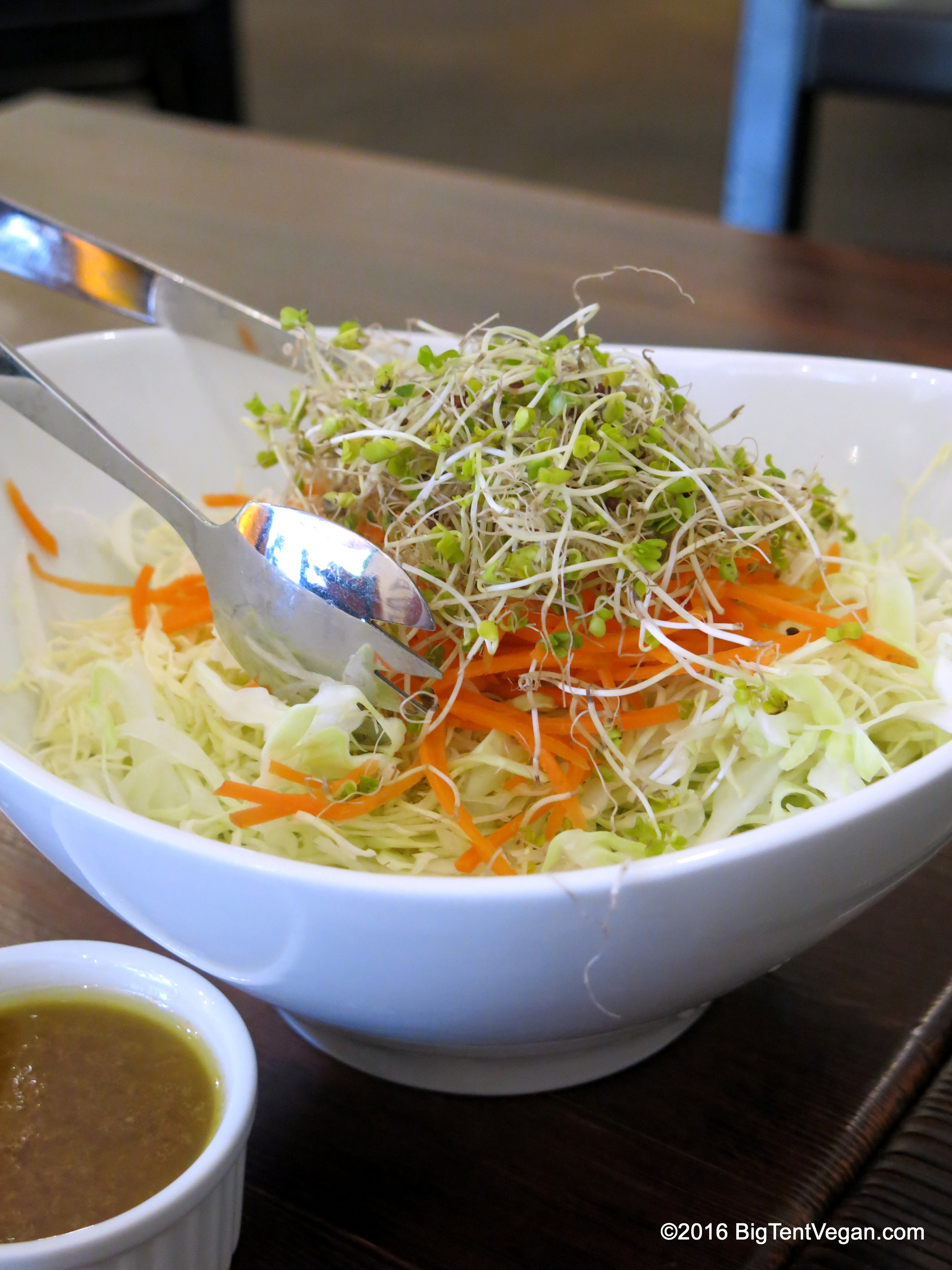 Angel Hair Salad with Thinly Shaved Cabbage and Carrots with Sprouts. Served with their Housemade Garlic-Sesame Dressing (Gluten-free available upon request)...delicious!
