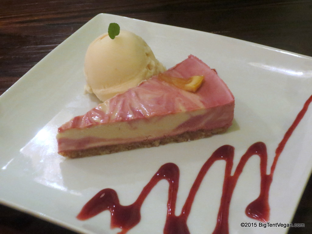 Raw Raspberry Lemon Cake with Ume (Japanese Plum) Ice Cream from Vegilicious (Huntington Beach, CA, USA).