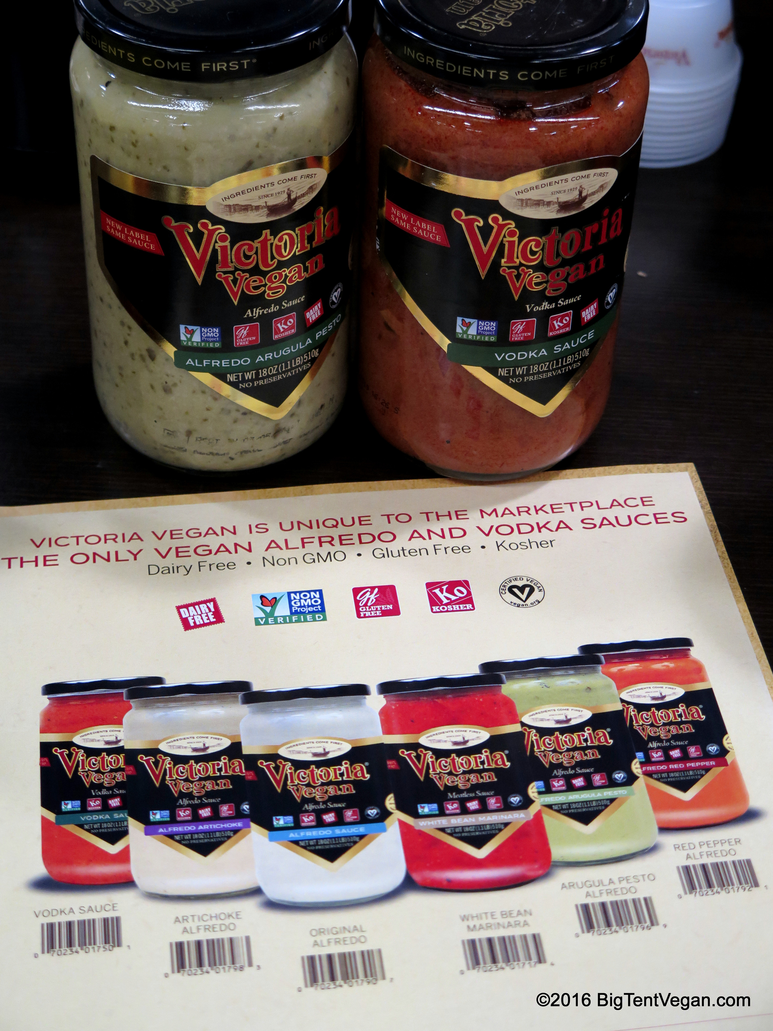 Victoria Fine Foods isn't a vegan company, but they have an extensive line of vegan sauces. I dug the vodka sauce.